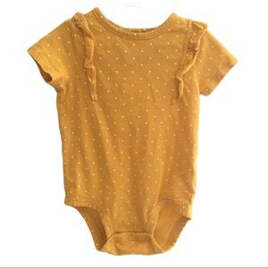 CARTERS 12 month Polka Dot Yellow White Onsie